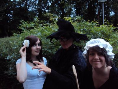 Sophia Leggett as Magrat, Lucy Jones as Granny Weatherwax and Natalie Bell as Nanny Ogg