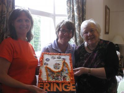 Fringe Marketing Officer Stephanie with activities co-ordinator Julie and resident Irene at the Pavilion Care Centre (June 2017)